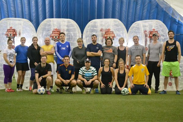 bubble soccer team photo